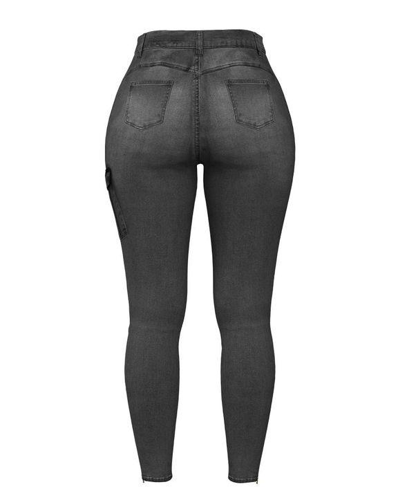 Flap Pocket Zipper Side Skinny Jeans gallery 32