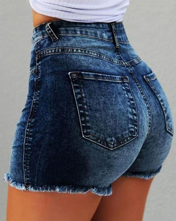 Mid Waist Raw Hem Skinny Shorts gallery 1