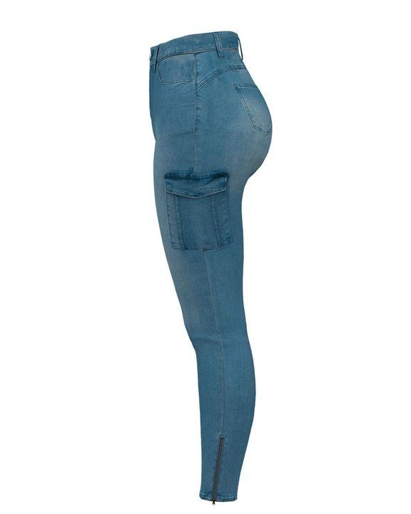 Flap Pocket Zipper Side Skinny Jeans gallery 11