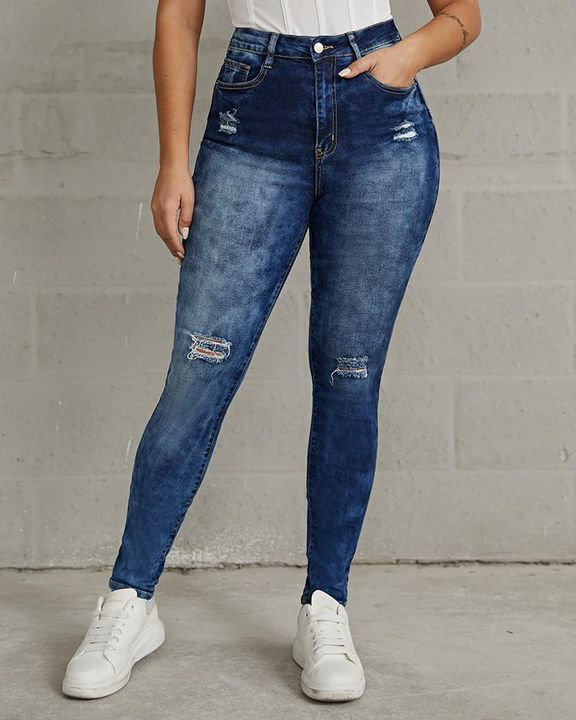 Ripped High Waist Stretchy Curvy Skinny Jeans gallery 3