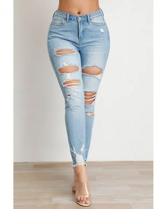 Butt Lifting Distressed Raw Hem Jeans gallery 2