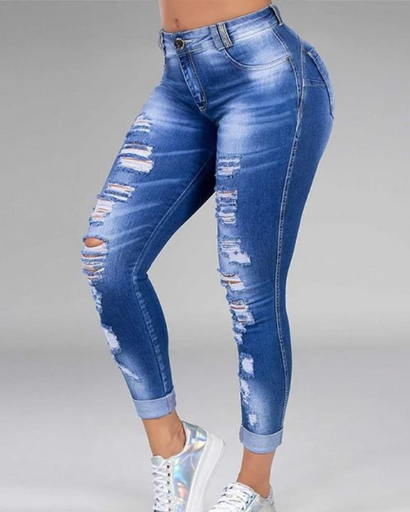 Plus Size Ripped Distressed Skinny Jeans gallery 4