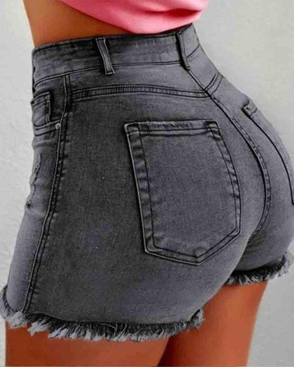 Mid Waist Raw Hem Skinny Shorts gallery 10
