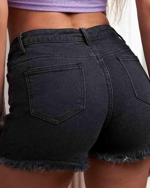 Mid Waist Raw Hem Skinny Shorts gallery 9