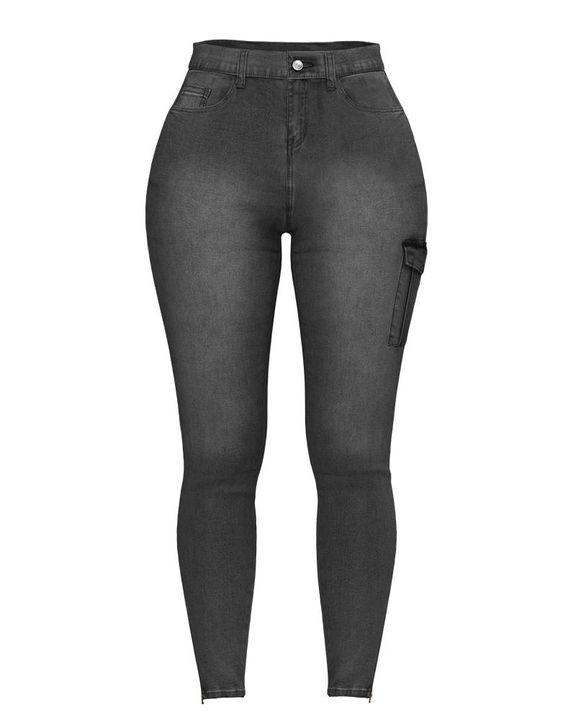 Flap Pocket Zipper Side Skinny Jeans gallery 30