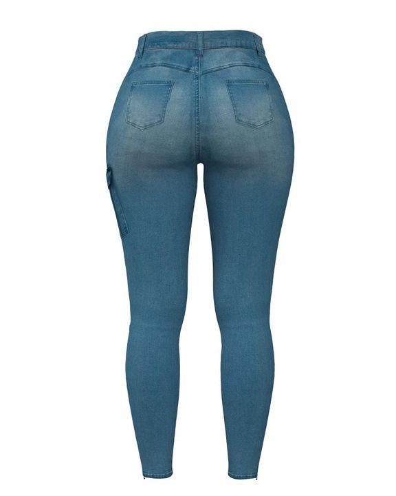 Flap Pocket Zipper Side Skinny Jeans gallery 12