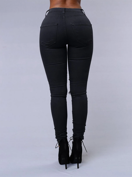 Solid Ripped Stretch Butt Lifting Jeans gallery 3