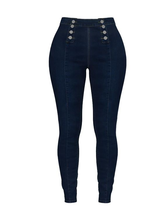 Double Breasted High Waist Skinny Jeans gallery 16