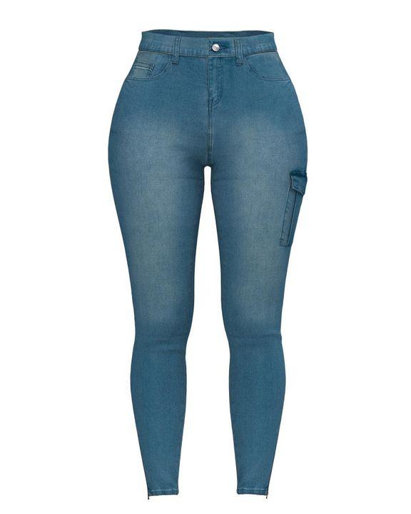 Flap Pocket Zipper Side Skinny Jeans gallery 10