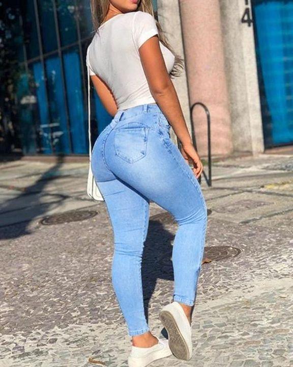 Flap Pocket Zipper Side Skinny Jeans gallery 37