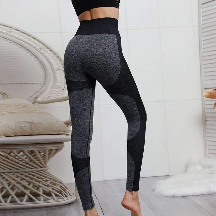 High Waist Compression Ribbed Texture Seamless Leggings gallery 17