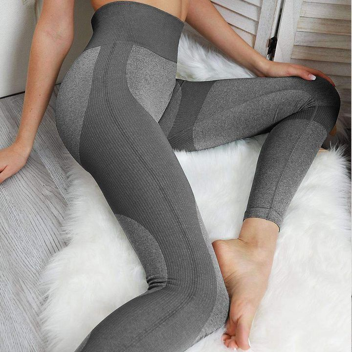 High Waist Compression Ribbed Texture Seamless Leggings gallery 13