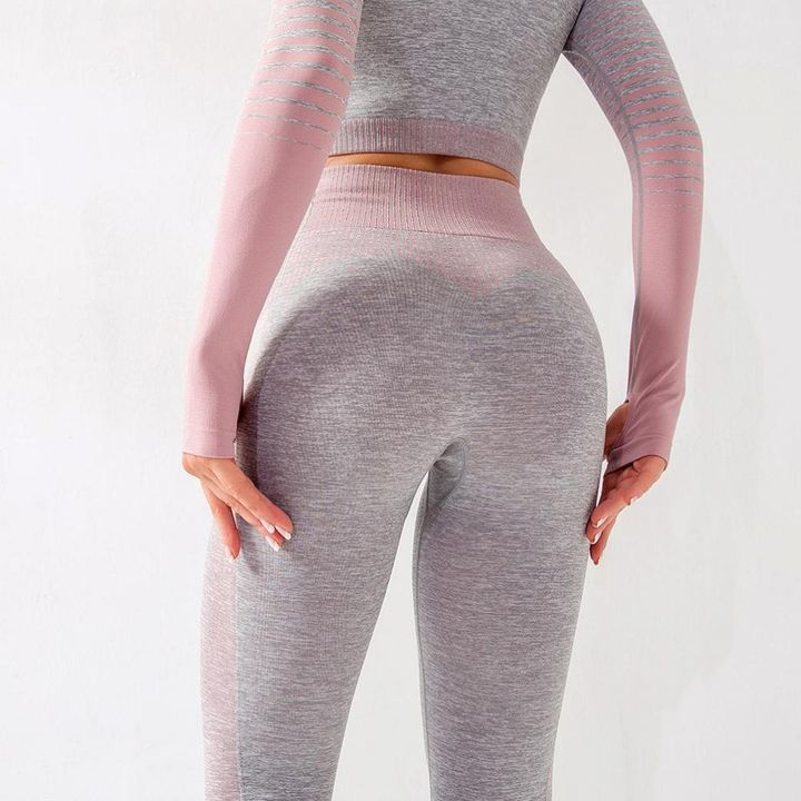 Striped Butt Lifting Breathable Seamless Sports Leggings gallery 5
