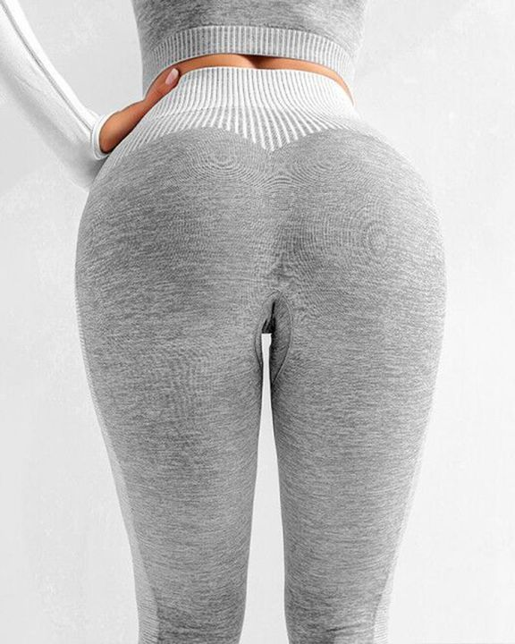 Striped Butt Lifting Breathable Seamless Sports Leggings gallery 8