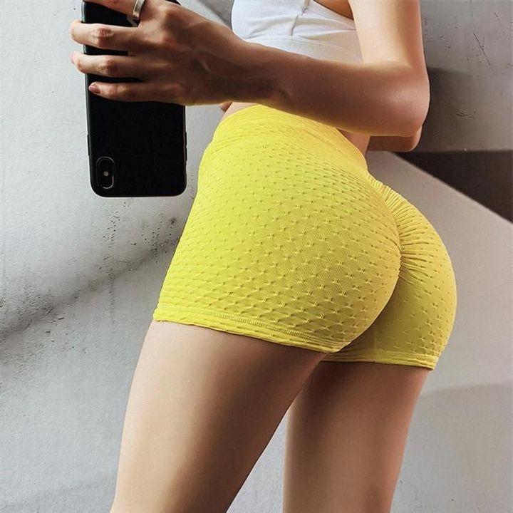 Butt Lifting Elastic Textured Running Sports Shorts gallery 2