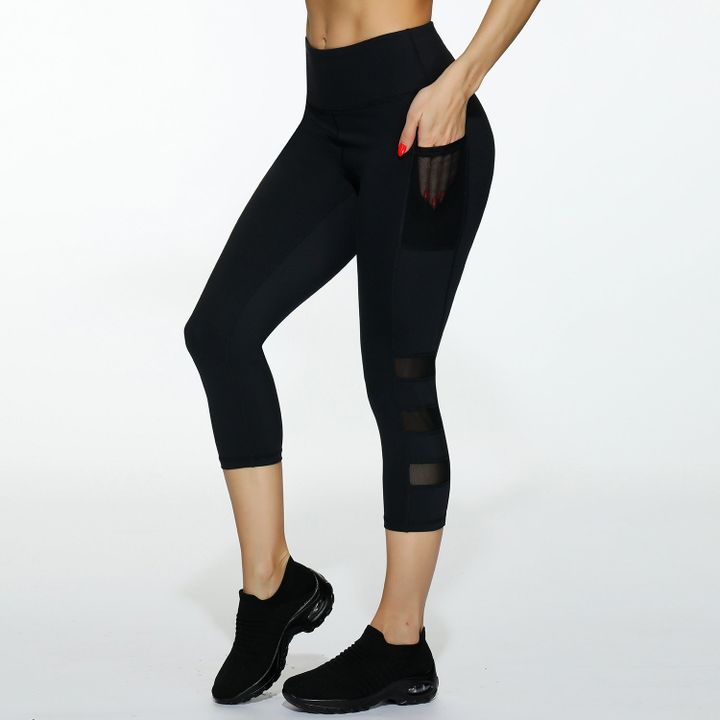 Side Pocket Patched Capris Sports Leggings gallery 3