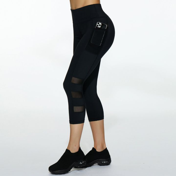 Side Pocket Patched Capris Sports Leggings gallery 4
