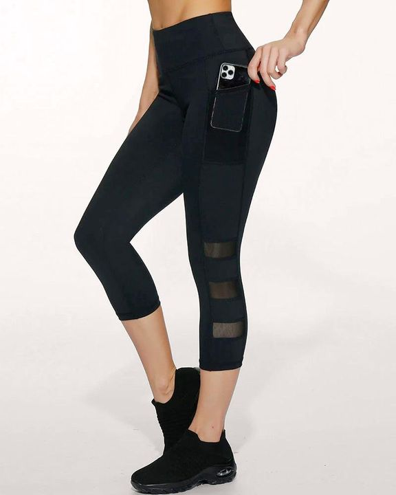 Side Pocket Patched Capris Sports Leggings gallery 1