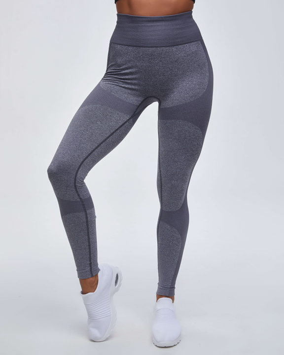 High Waist Compression Ribbed Texture Seamless Leggings gallery 9