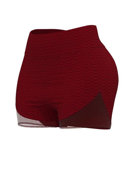 Colorblock Textured High Waist Sports Shorts gallery 6