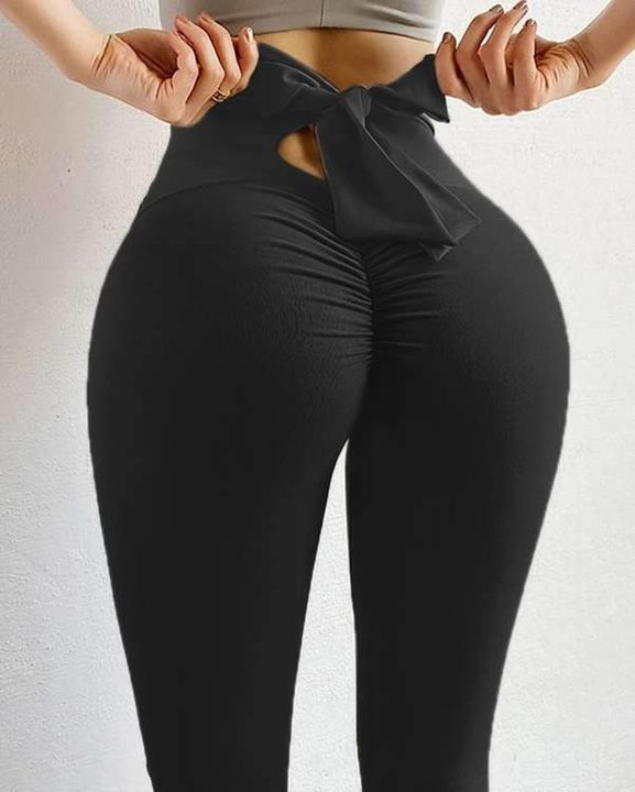Ruched Bow Tie Back Sports Leggings gallery 18