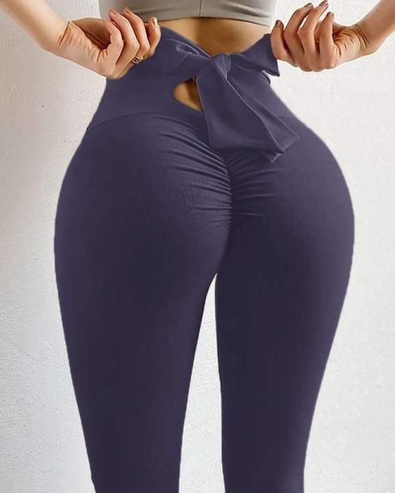 Ruched Bow Tie Back Sports Leggings gallery 17