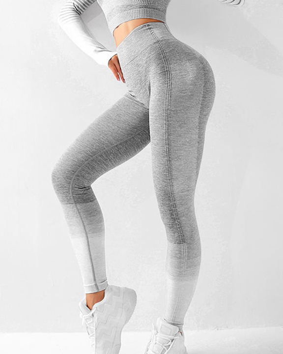 Striped Butt Lifting Breathable Seamless Sports Leggings gallery 3