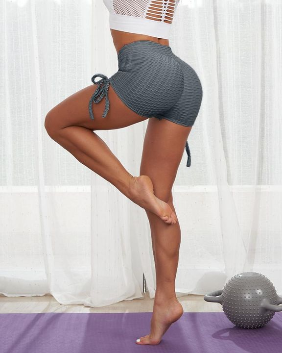 Solid Ruched Tie Side Butt Lifting Shorts gallery 7