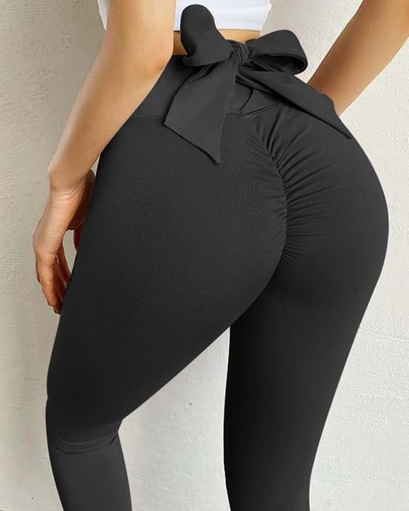 Ruched Bow Tie Back Sports Leggings gallery 19