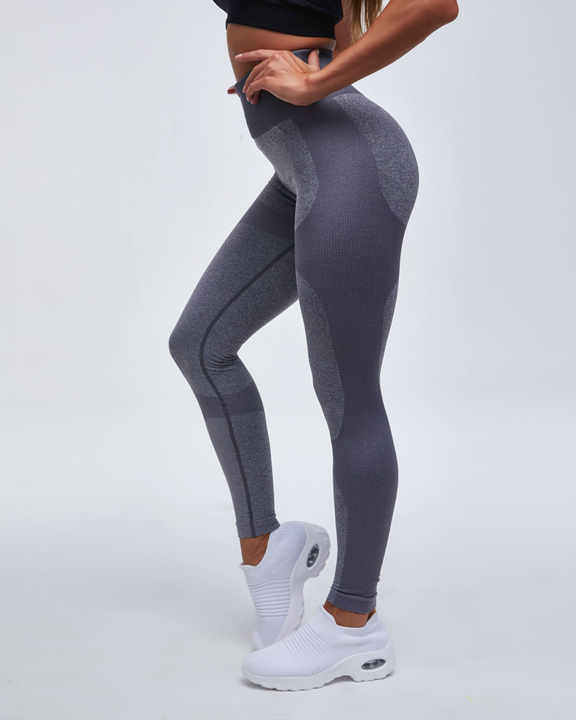High Waist Compression Ribbed Texture Seamless Leggings gallery 8