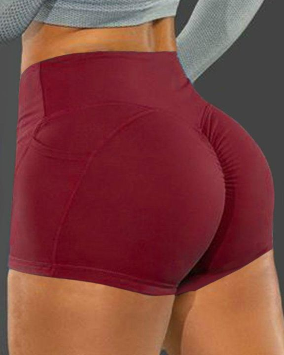 Side Pocket Solid Butt Lifting Shorts gallery 4