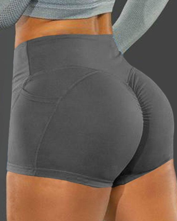 Side Pocket Solid Butt Lifting Shorts gallery 5
