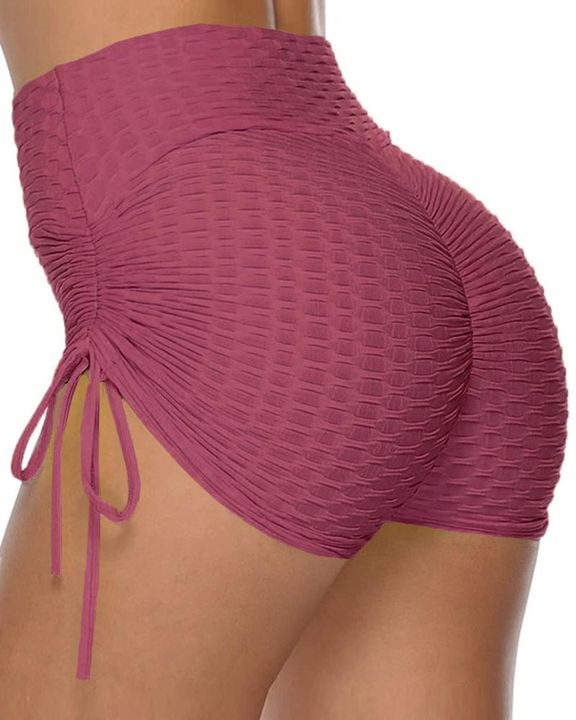 Solid Ruched Tie Side Butt Lifting Shorts gallery 2