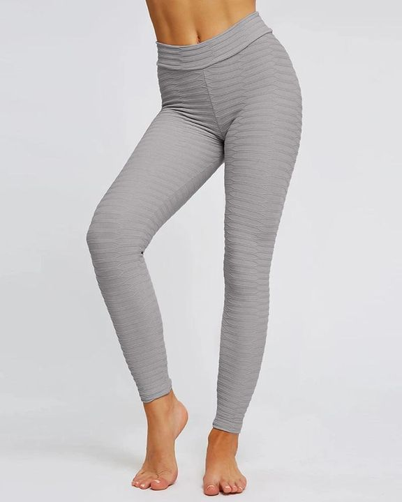 Solid Textured Butt Lifting Stretch Workout Leggings gallery 8
