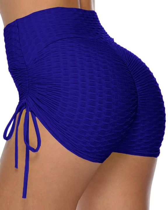 Solid Ruched Tie Side Butt Lifting Shorts gallery 4