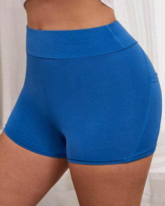 Side Pocket Solid Butt Lifting Shorts gallery 7