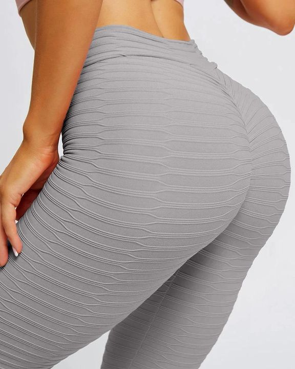 Solid Textured Butt Lifting Stretch Workout Leggings gallery 6