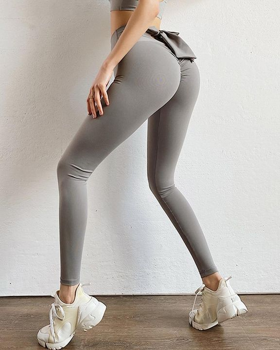 Ruched Bow Tie Back Sports Leggings gallery 5