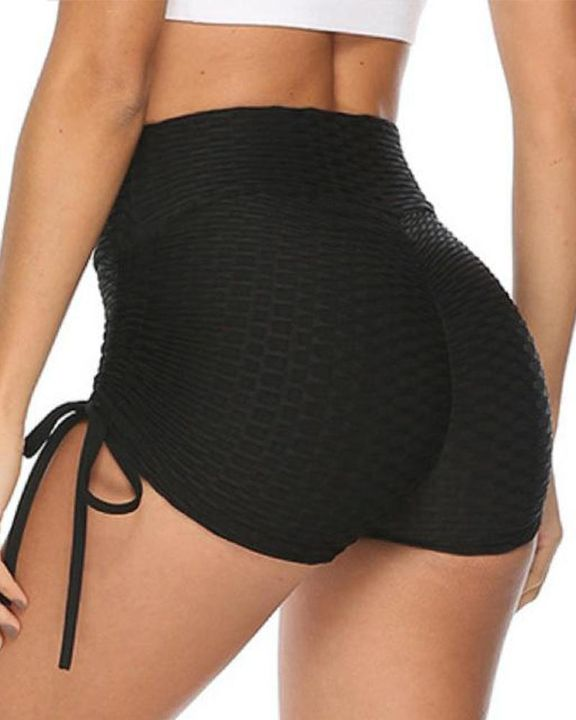 Solid Ruched Tie Side Butt Lifting Shorts gallery 1