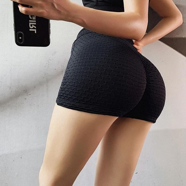 Butt Lifting Elastic Textured Running Sports Shorts gallery 5