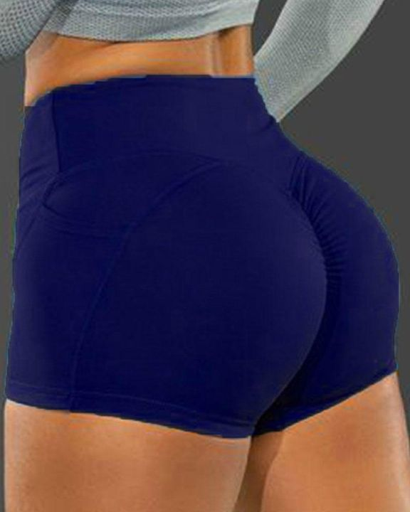 Side Pocket Solid Butt Lifting Shorts gallery 3
