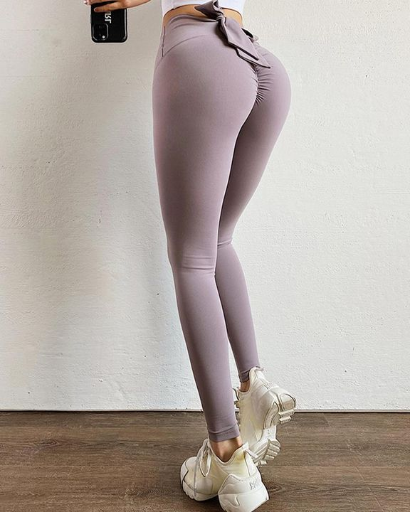 Ruched Bow Tie Back Sports Leggings gallery 9