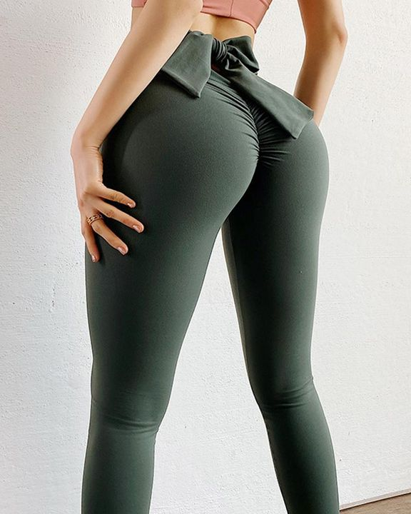 Ruched Bow Tie Back Sports Leggings gallery 15