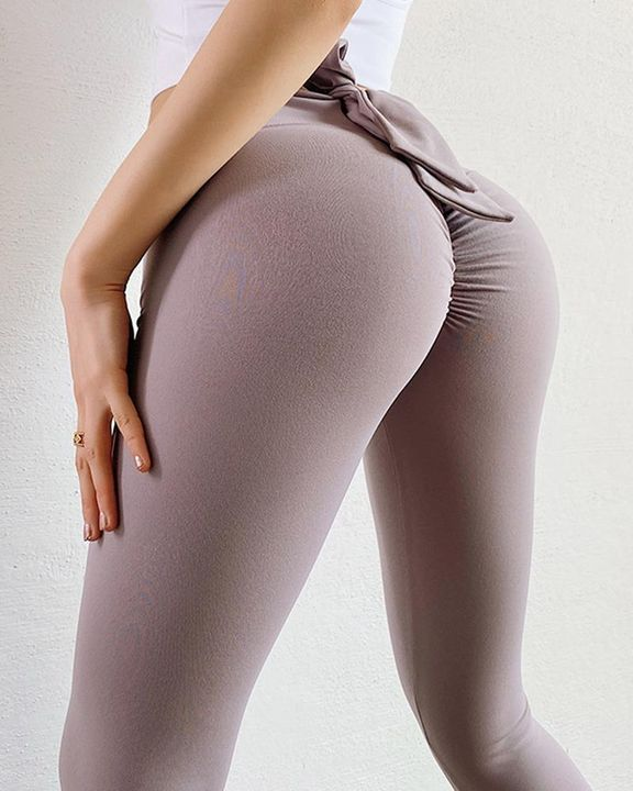 Ruched Bow Tie Back Sports Leggings gallery 11