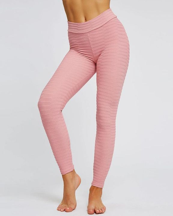 Solid Textured Butt Lifting Stretch Workout Leggings gallery 11