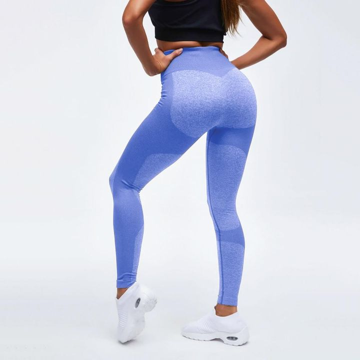 High Waist Compression Ribbed Texture Seamless Leggings gallery 5