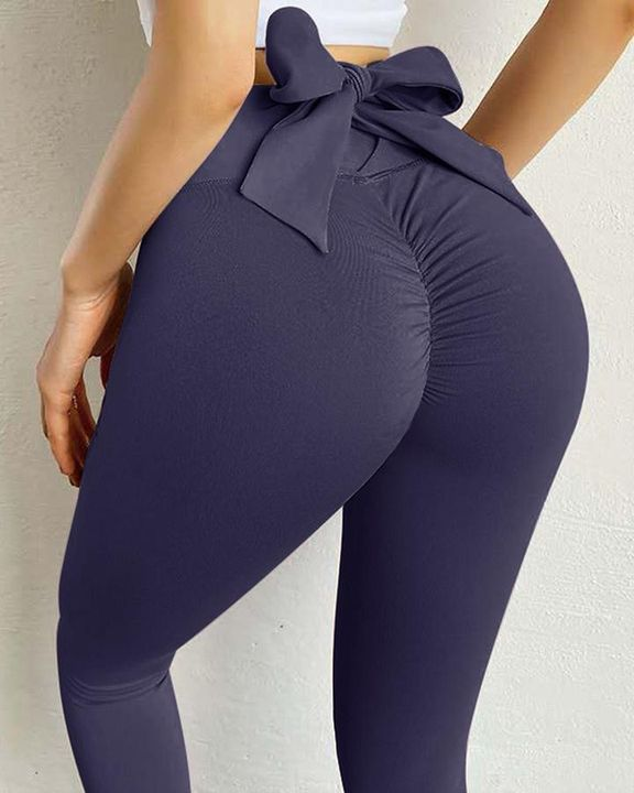Ruched Bow Tie Back Sports Leggings gallery 16