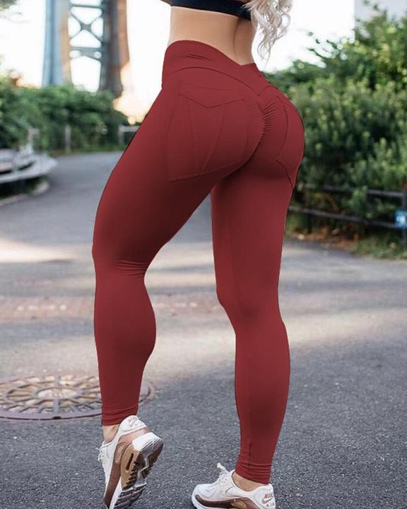 Pocket Back Ruched Chevron Waist Sports Leggings gallery 2