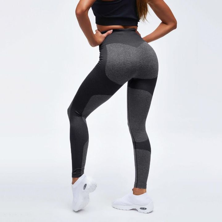 High Waist Compression Ribbed Texture Seamless Leggings gallery 4