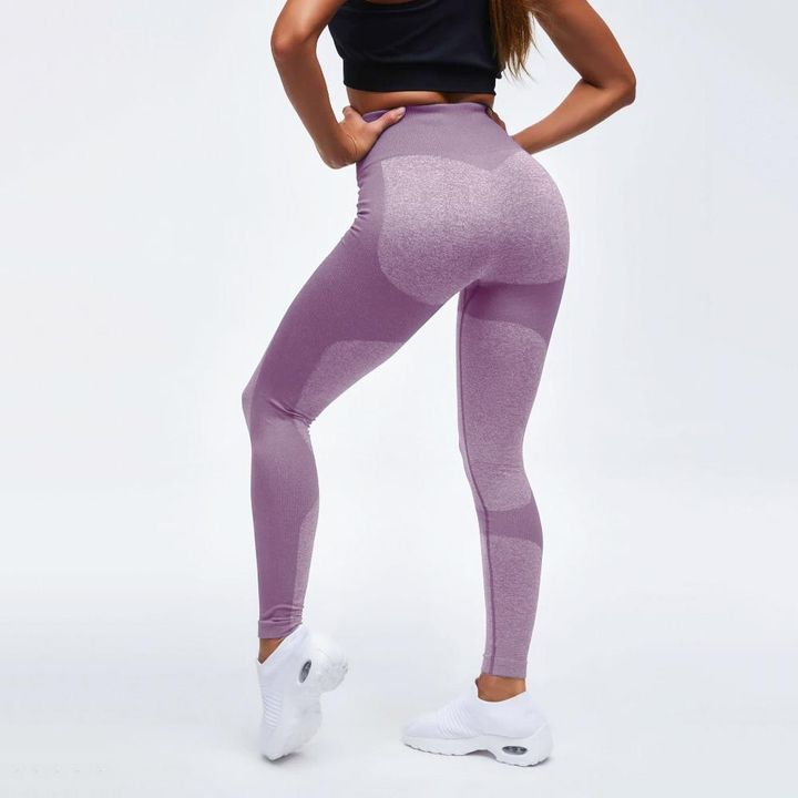 High Waist Compression Ribbed Texture Seamless Leggings gallery 6